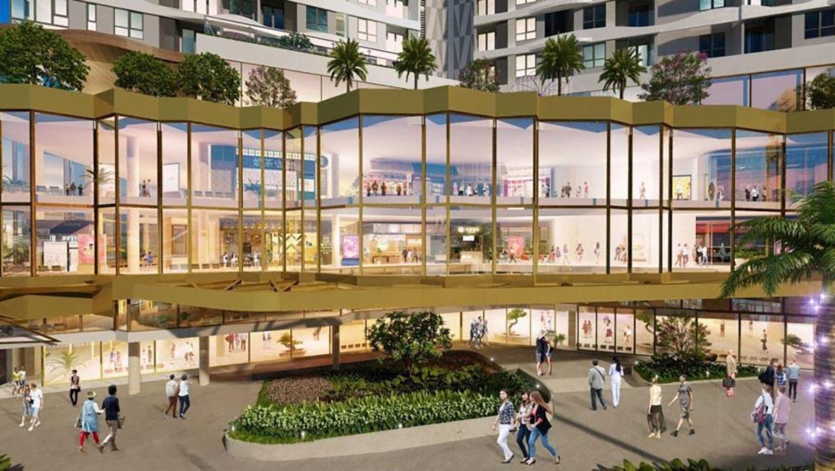 """Tầng đế dự án là trung tâm thương mại Outsight D- Mall, được mệnh danh là """"khu phố đi bộ trên không"""" đầu tiên của TP.HCM tại Q.6"""