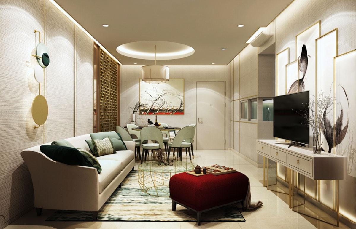 """Phòng khách được thiết kế kỳ công với sự phối trộn độc đáo của các tông màu đã làm toát lên sự quý phái cho """"bộ mặt của gia chủ"""""""
